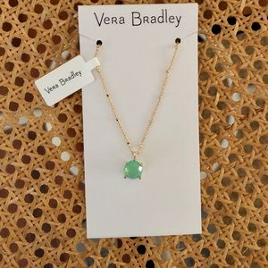 Vera Bradley goldtone green opal necklace NWT